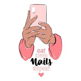 Weibliche hände mit nacktem nagellack, der smartphone hält. nägel und maniküre illustration.