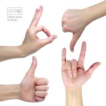 Weibliche hand auf einem weißen hintergrund zeigt verschiedene zeichen