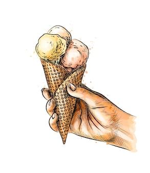 Weibliche hand, die eiscreme im waffelkegel von einem spritzer aquarell, hand gezeichnete skizze hält. illustration von farben