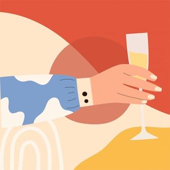 Weibliche hand, die glas sekt hält. frau hans in hellen kleidern mit memphis-muster, das glas hält. alkoholisches getränk. konzept des champagnerliebhabers. seitenansicht. flache illustration