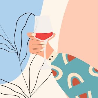 Weibliche hand, die glas wein hält. frauenhand in hellen kleidern mit memphis-muster, das glas hält. alkoholisches getränk. konzept des weinliebhabers. bild auf abstraktem hintergrund. flache illustration