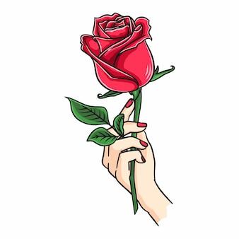 Weibliche hand, die rosenblume hält