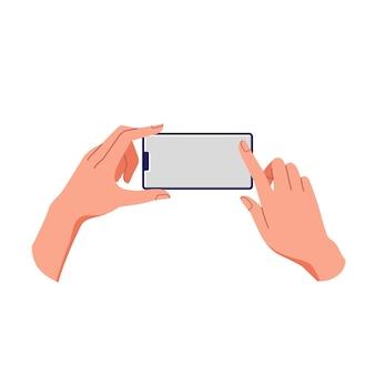 Weibliche hand, die smartphone hält. leerer bildschirm, telefonmodell. anwendung auf einem touchscreen-gerät.