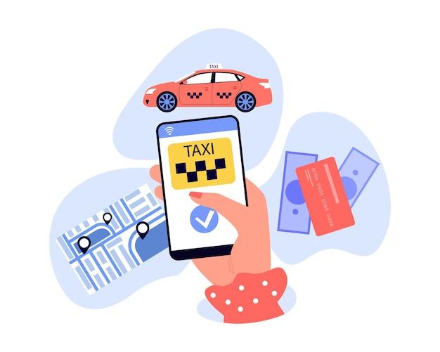 Weibliche hand, die smartphone mit mobiler taxi-app hält. person, die taxi bestellt, karte mit standortstiften, flache vektorillustration der zahlungsmethoden. taxiservice, technologiekonzept für banner, website-design