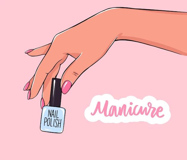 Weibliche hand hält nagellackflasche. handschriftlicher schriftzug über nägel und maniküre.