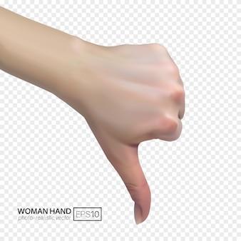 Weibliche hand zeigt abneigung mit daumen nach unten, ablehnungskonzept.