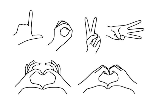 Weibliche handgestenfinger machen das wort liebe und eine herzform. vektor-icin-frauenhand eines liebessymbols in einem minimalistischen trendstil. für logo, druck auf t-shirt, poster, valentinstagskarte