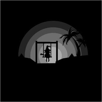 Weibliche hexe silhouette vektor-illustration