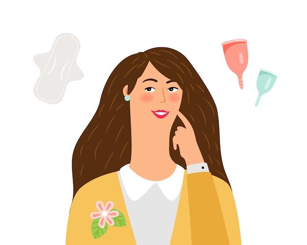 Weibliche hygiene. frau wählt zwischen pad und menstruationstasse. null abfall, öko-vektorkonzept