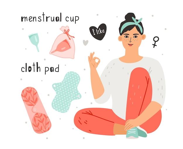 Weibliche hygieneillustration. hygiene der menstruationstasse und des stoffpolsters zum schutz der frau während des menstruationszyklus