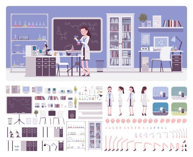 Weibliche junge wissenschaftlerin, die im labor arbeitet