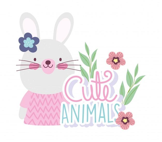 Weibliche kaninchenkarikatur niedliche tierfiguren blüht natur Premium Vektoren