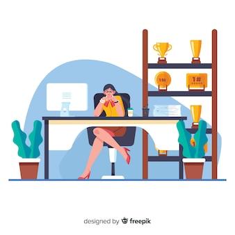 Weibliche karikaturarbeitskraft, die am schreibtisch sitzt