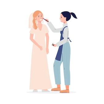 Weibliche karikaturfigur des professionellen maskenbildners, die hochzeitsgesichts-maquillage für brautmädchen tut, flach lokalisiert auf weißem hintergrund.