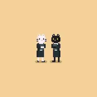 Weibliche katzen-büroangestellter des pixels