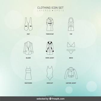 Weibliche kleidung icons set