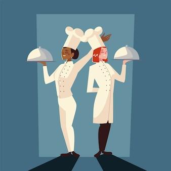 Weibliche köche hält platte professionelles restaurant mit schattenentwurfvektorillustration