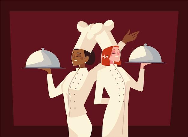 Weibliche köche halten silberplatte arbeiter professionelle restaurant vektor-illustration