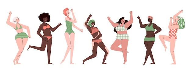 Weibliche körperpositivität stellt eine unterschiedliche gruppe von frauen von dünn bis zu übergröße ein