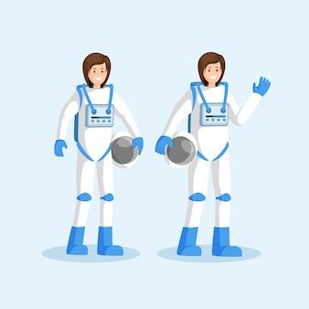 Weibliche kosmonauten in raumanzügen flach