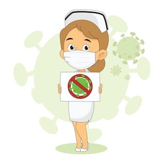 Weibliche krankenschwester, die banner mit stop covid hält