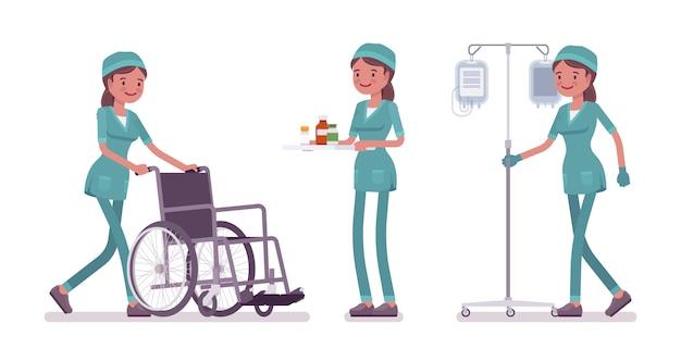 Weibliche krankenschwester, die fahne der medizinischen prozedur tut