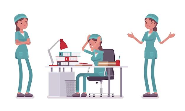 Weibliche krankenschwester in negativen emotionen