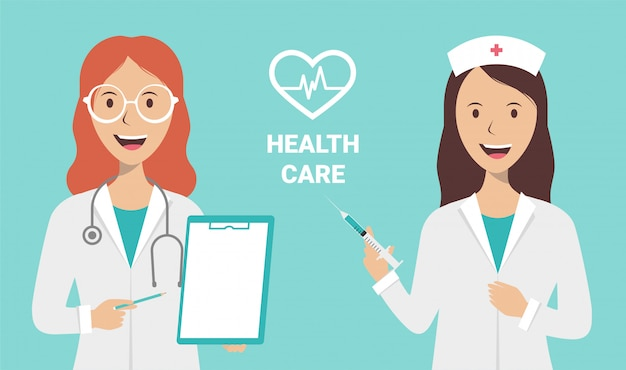 Weibliche krankenschwester und doktor auf einem blauen hintergrund
