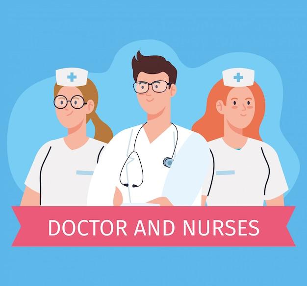Weibliche krankenschwestern und arztgesundheit, medizinisches personal des gesundheitskrankenhauses vektorillustrationsdesign