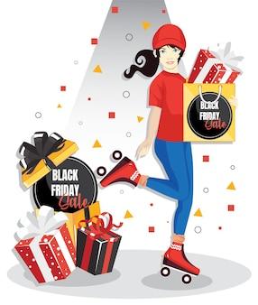 Weibliche kurierfigur in der uniform mit geschenkbox und einkaufstasche. schwarzer freitag verkauf vorlage banner..