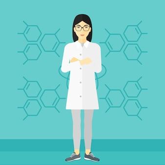 Weibliche laborantin
