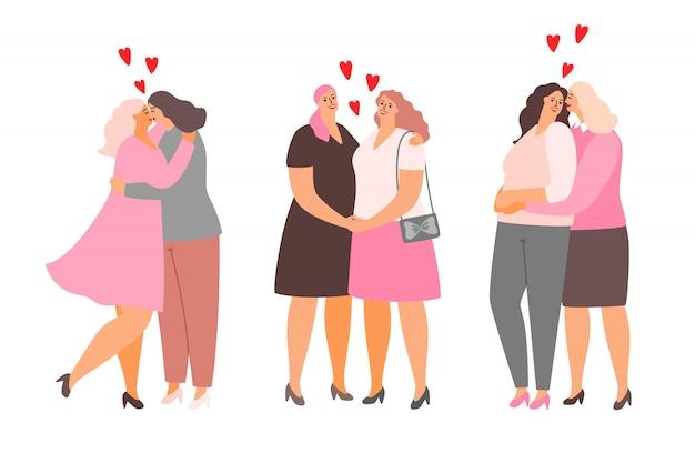 Weibliche lesbische paare umarmen und küssen sich. homosexualität lieben