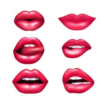 Weibliche lippen des schönen plüsches, die den unterschiedlichen gefühlnachahmungssatz lokalisiert auf weißem hintergrund rea ausdrücken