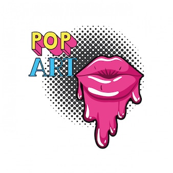 Weibliche lippen, die lokalisierte ikone tropfen