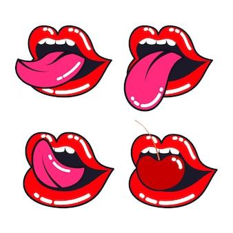 Weibliche lippen gesetzt. frauenmund mit einer zunge, zähnen und kirsche.