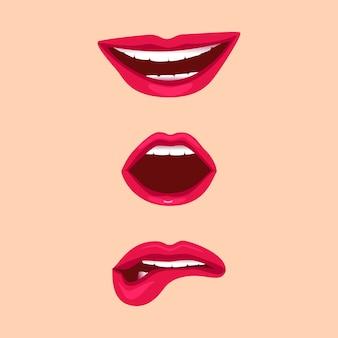 Weibliche lippen mit emotionsausdrücken und mund gesetzt isoliert
