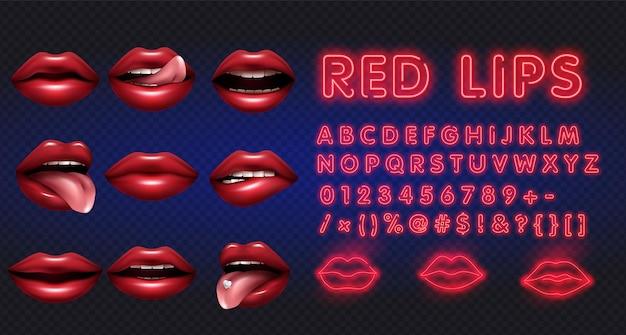 Weibliche lippen mit neonalphabetillustration