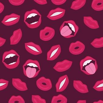 Weibliche lippen. mund mit einem kuss, lächeln, zunge, zähnen und kuss mich schriftzug auf hintergrund. nahtloses comic-muster im pop-art-retro-stil. abstraktes nahtloses muster für mädchen, jungen, kleidung.