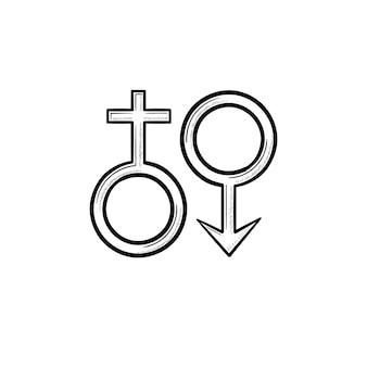Weibliche männliche genger-symbole handgezeichnete umriss-doodle-symbol
