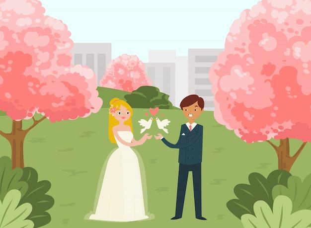 Weibliche männliche schöne paarhochzeitsfeier, illustration. städtischer nationalpark der stadt, junge familie heiratete rosa baumhintergrund.