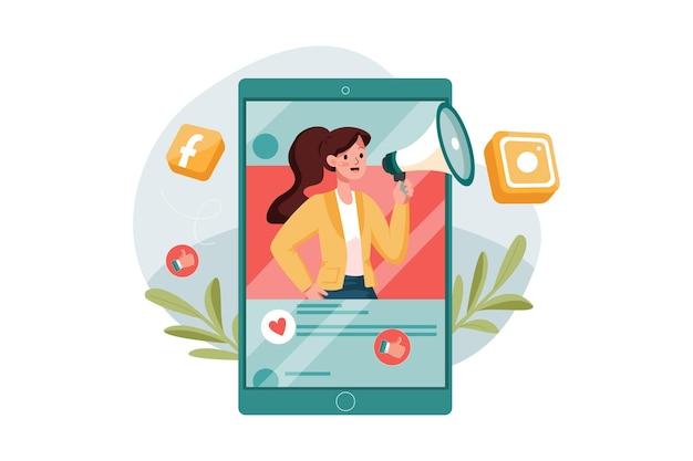 Weibliche marketingmitarbeiterin, die am digitalen marketing arbeitet