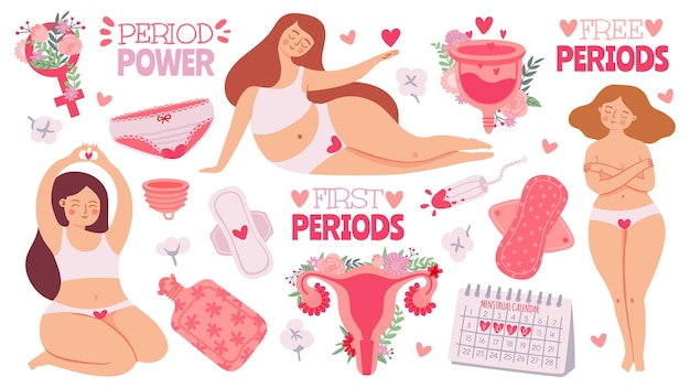 Weibliche menstruation. frauen mit perioden- und hygieneprodukt-tampon, damenbinden und menstruationstasse. cartoon gebärmutter, vektor-set. menstruation erste periode, menstruations-accessoire-tampon-illustration