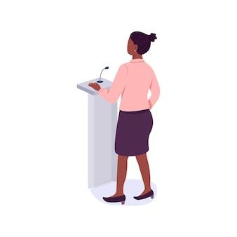 Weibliche mentorin macht flache farbe gesichtslosen charakter. frauenrechte verteidigen. jährliches treffen der frauenvereinigung isolierte karikaturillustration für webgrafikdesign und -animation