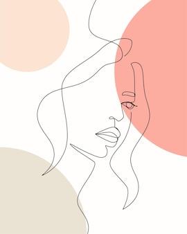 Weibliche minimale design handgezeichnete illustration eine linie stil zeichnung strichzeichnungen