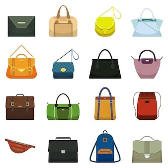 Weibliche mode lederhandtaschen und männliches accessoire.