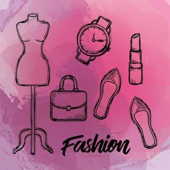 Weibliche mode zubehör symbole