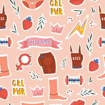 Weibliche muster-girl-power- und feminismus-elemente im trendigen handgezeichneten stil
