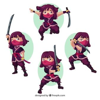 Weibliche ninja-kriegersammlung mit flachem design