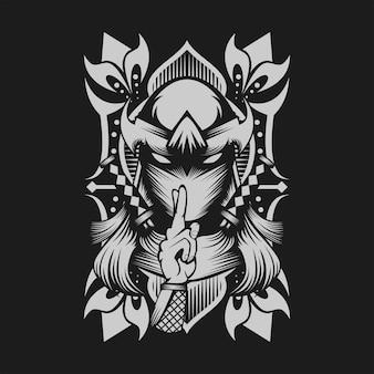 Weibliche ninja-vektor-illustration