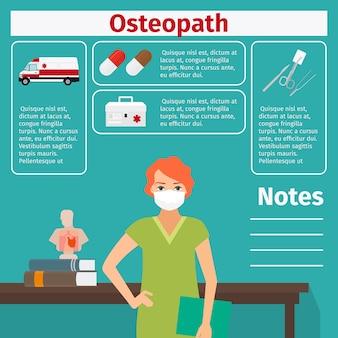 Weibliche osteopath- und ausrüstungsschablone